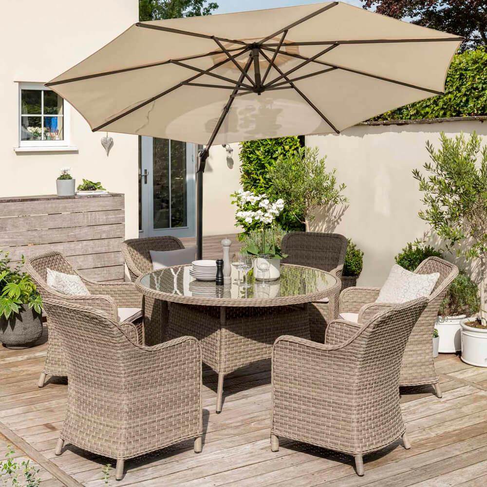2021 Kettler Charlbury 6 Seat Garden Dining Set With Round Table
