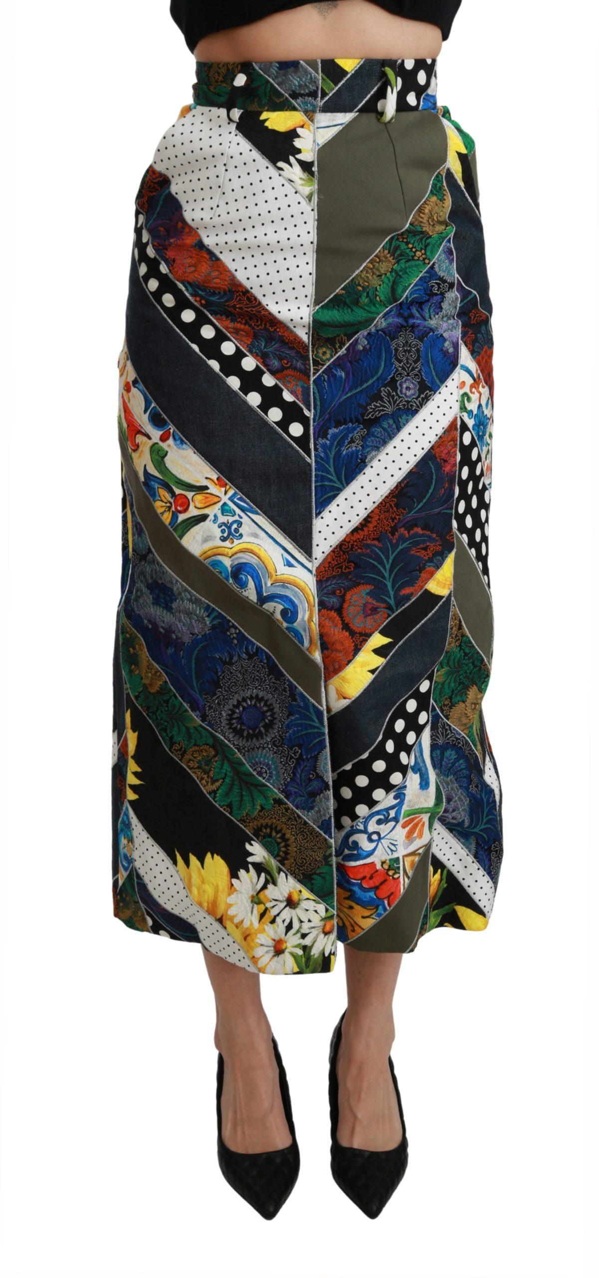 Dolce & Gabbana Women's Silk Geometric High Waist Maxi Skirt Multicolor SKI1429 - IT40|S