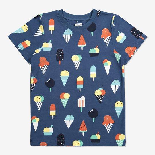 T-skjorte med iskremtrykk blå