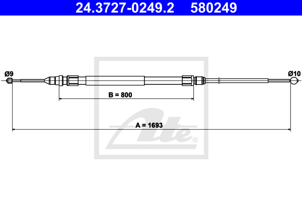 Cable, parking brake ATE 24.3727-0249.2