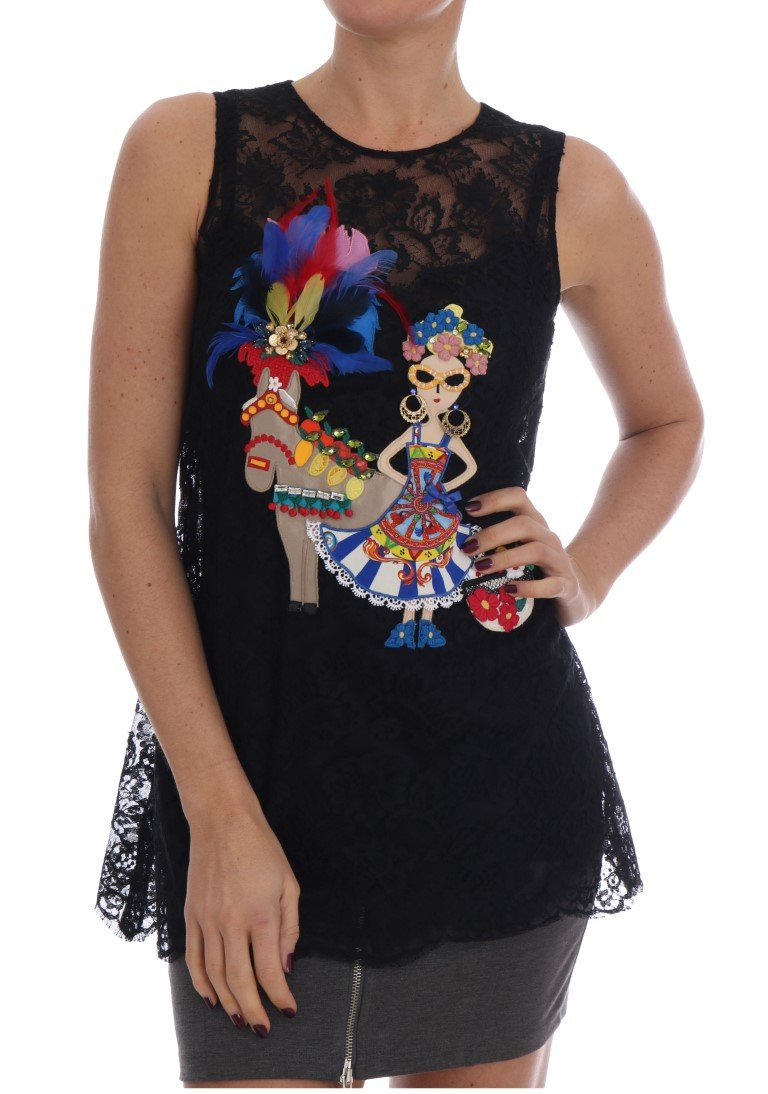 Black Sicily Embroidered Lace Blouse - IT38 XS