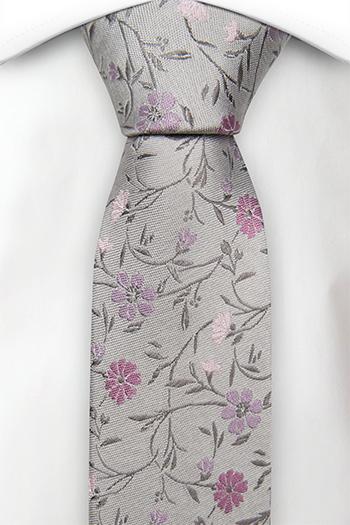 Silke Gutteslips, Grålig base & blomster i blek lilla & blek rosa
