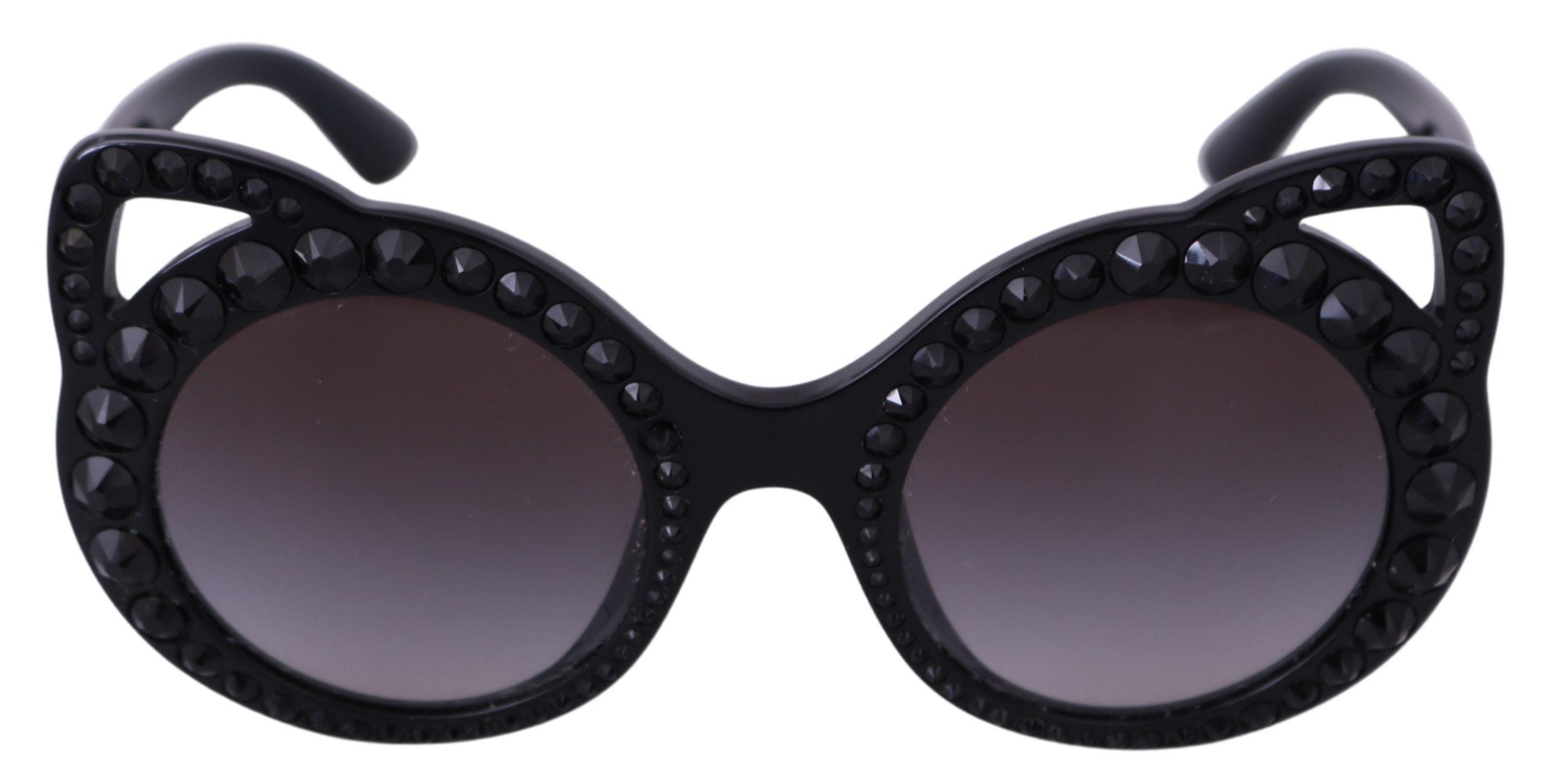 Dolce & Gabbana Women's Studded Cat Ear Logo Sunglasses Black GLA745
