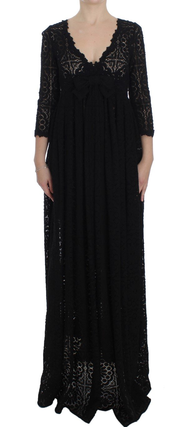 Dolce & Gabbana Women's Ricamo Knitted Full Length Dress Black NOC10128 - IT40 S