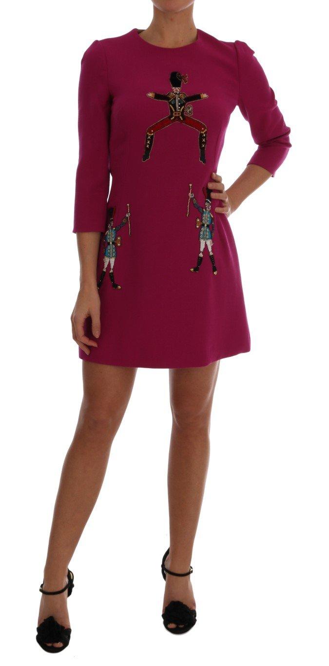 Dolce & Gabbana Women's Wool Stretch Pupi Di Teatro Dress Pink DR1291 - IT42 M