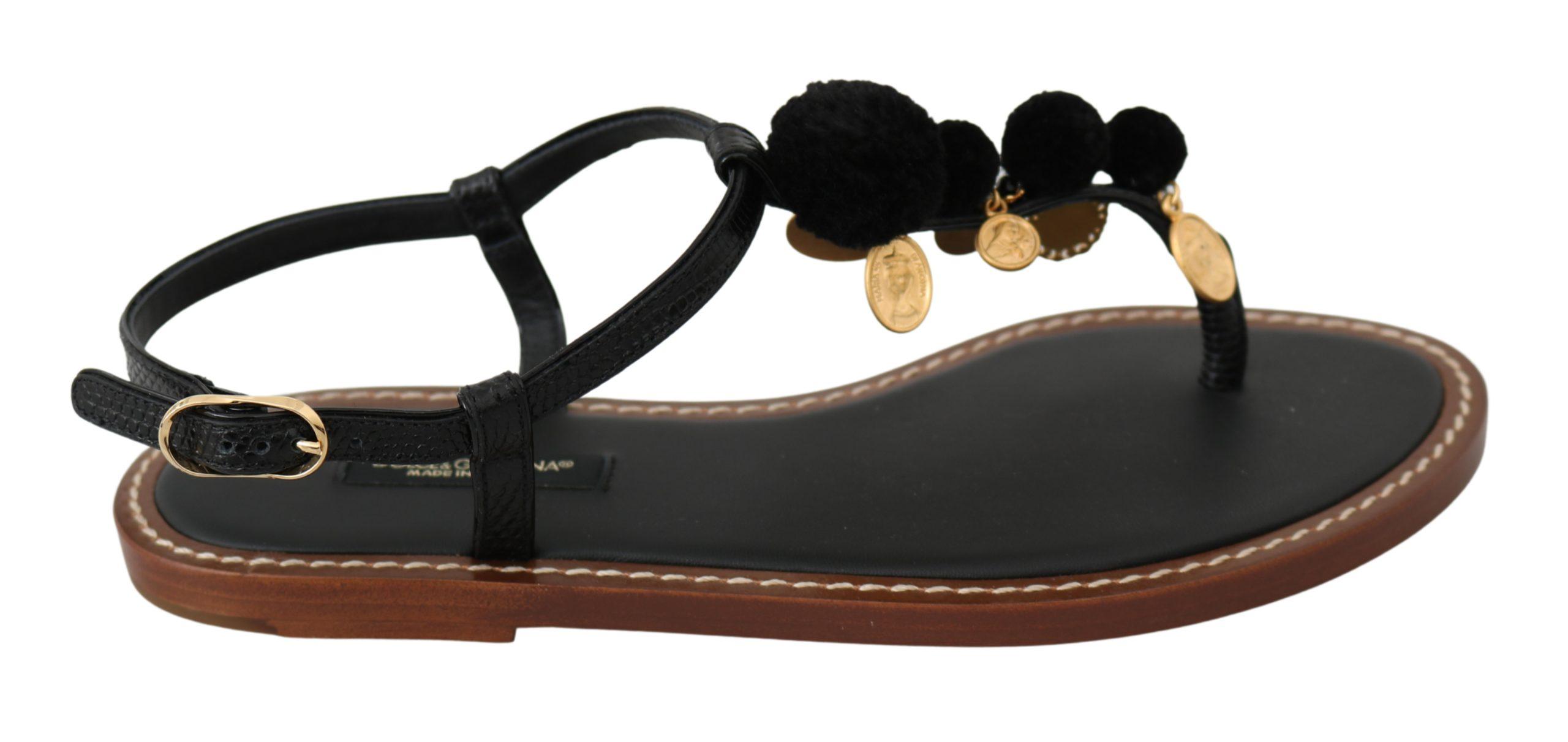 Dolce & Gabbana Women's Leather Coins Flat Shoe Black LA6577 - EU38.5/US8