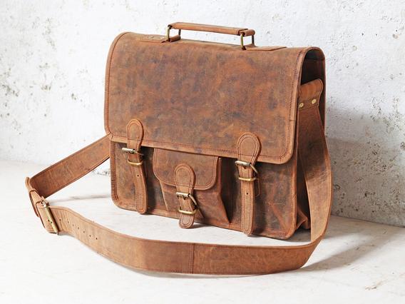 Medium Vintage Leather Satchel 15 Inch With Pocket & Handle Brown 15 Inch