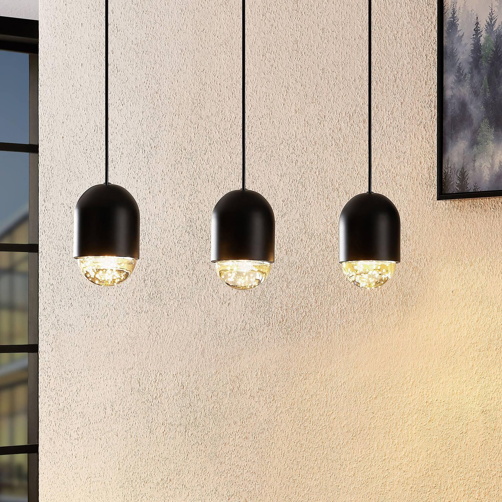 Lucande Amielle -riippuvalo, 3-lamppuinen, musta