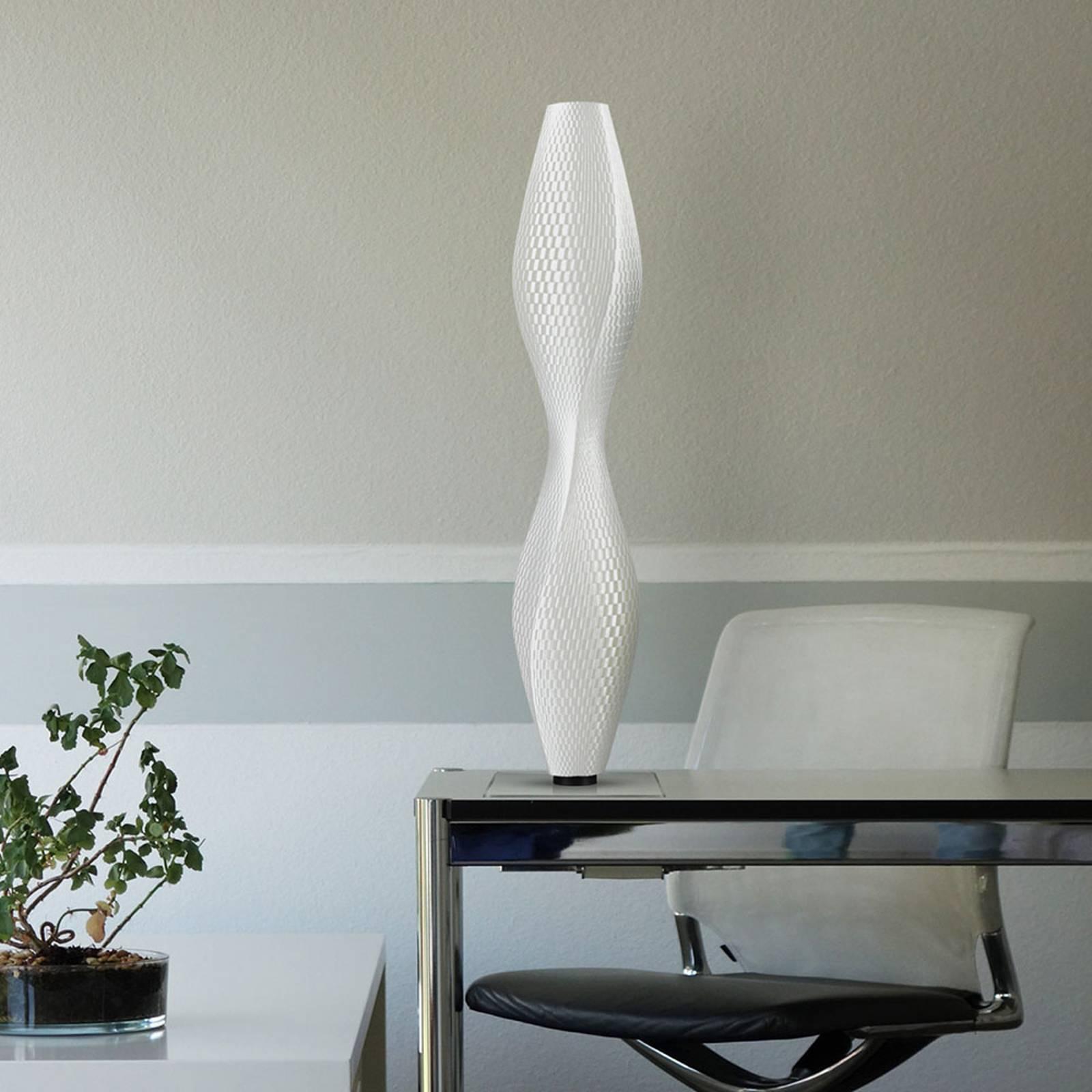 LED-lattiavalo Flechtwerk Lava, 75 cm, valkoinen