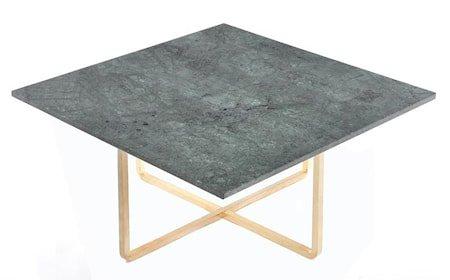 Ninety sofabord - Grønn marmor/messingstomme