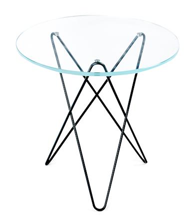 Tall mini o-table glass – Clear/black