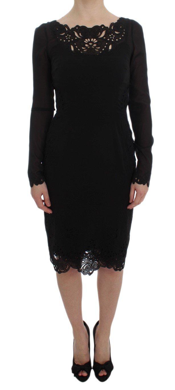 Dolce & Gabbana Women's Silk Stretch Sheath Dress Black DRE10062 - IT40|S