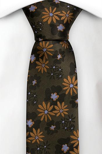 Silke Gutteslips, Grønn med gull og grå blomster, Grønn, Blomstrete