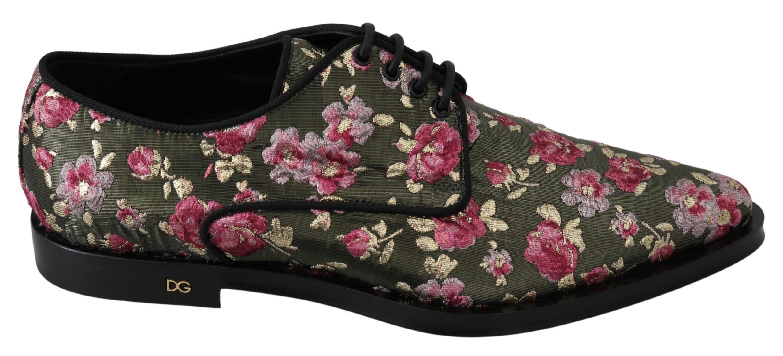 Dolce & Gabbana Women's Jacquard Floral Dress Broque Shoe Green LA7213 - EU39/US8.5