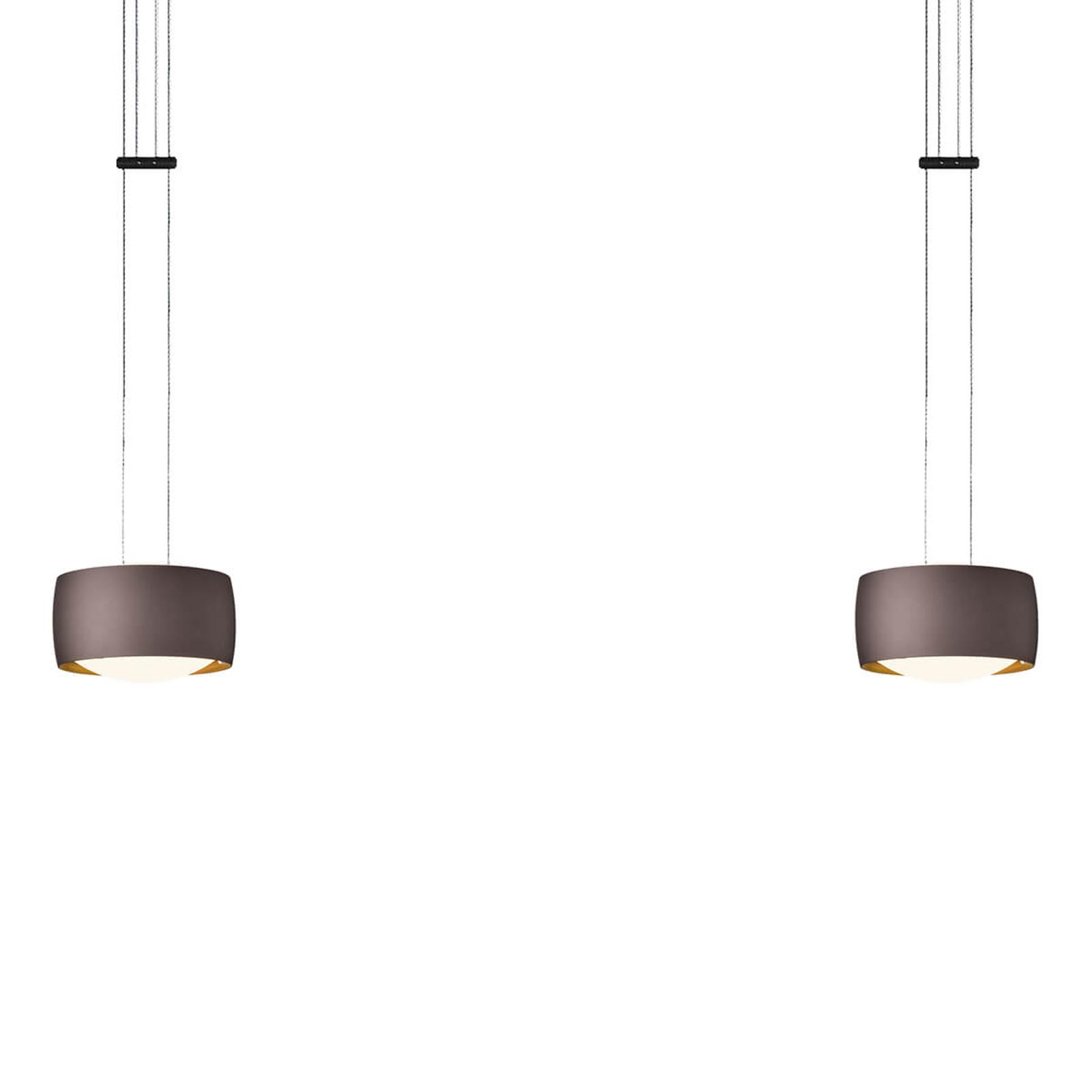 OLIGO Grace LED-riippuvalaisin 2-lamppuinen ruskea