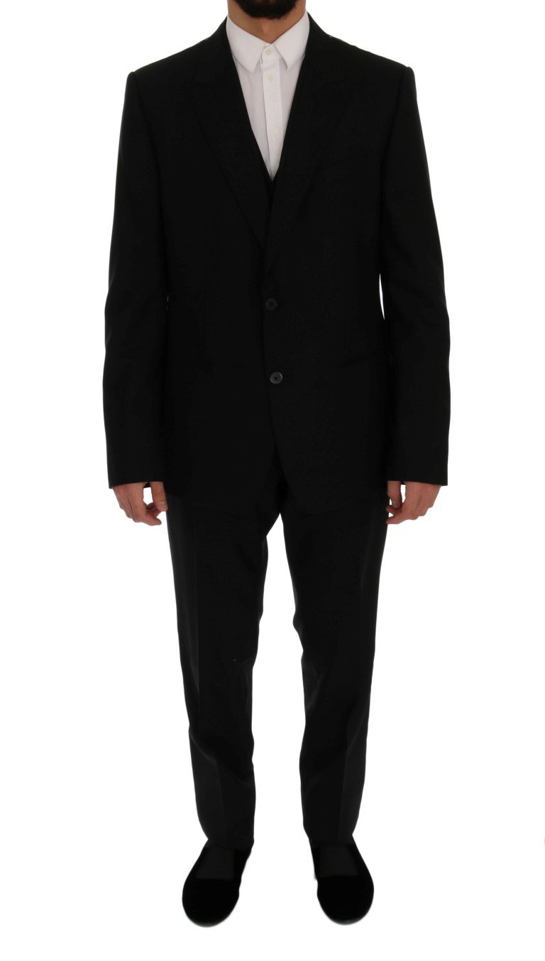 Dolce & Gabbana Men's Wool Slim Fit 3 Piece Suit Black SIG60302 - IT56 | XXL