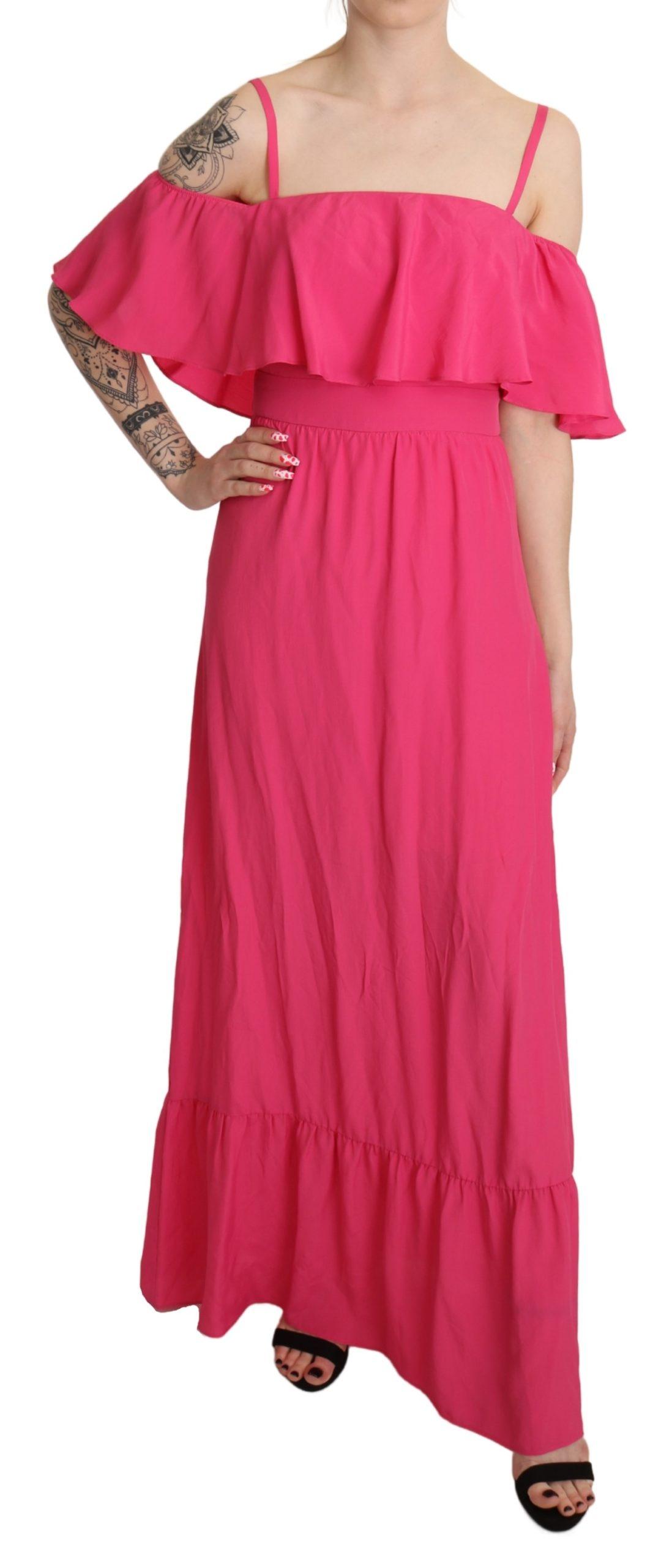Liu Jo Women's A-line Off Shoulder Floor Length Dress Pink DR2614 - IT40|S