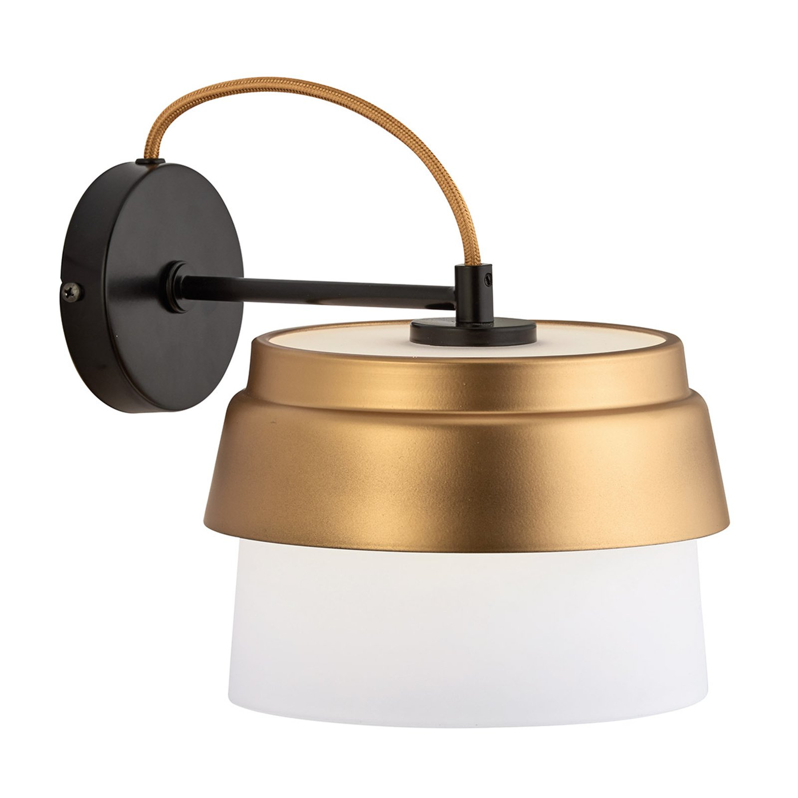 Vegglampe Morgan med glass skjerm hvit-gull