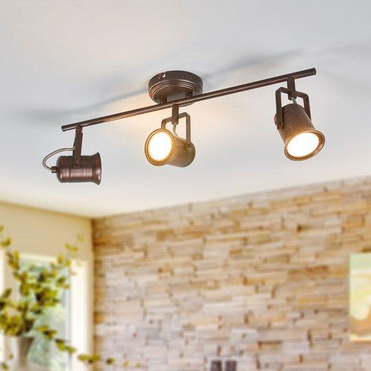Rustiikkinen LED-kattolamppu Cansu, ruskea