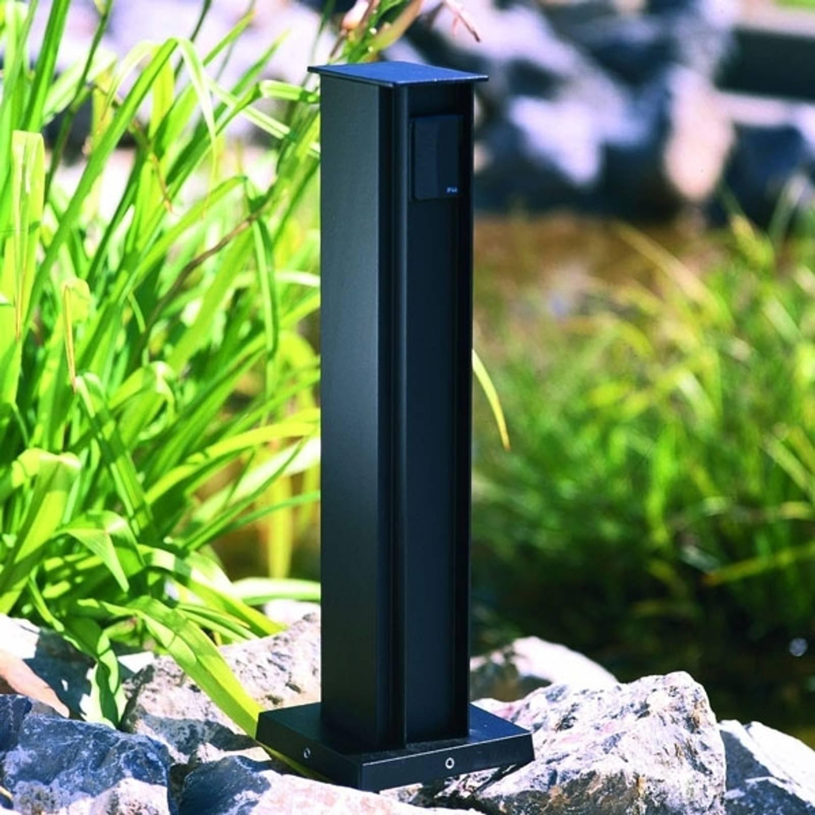 Kaksiosainen pistorasiapylväs, musta