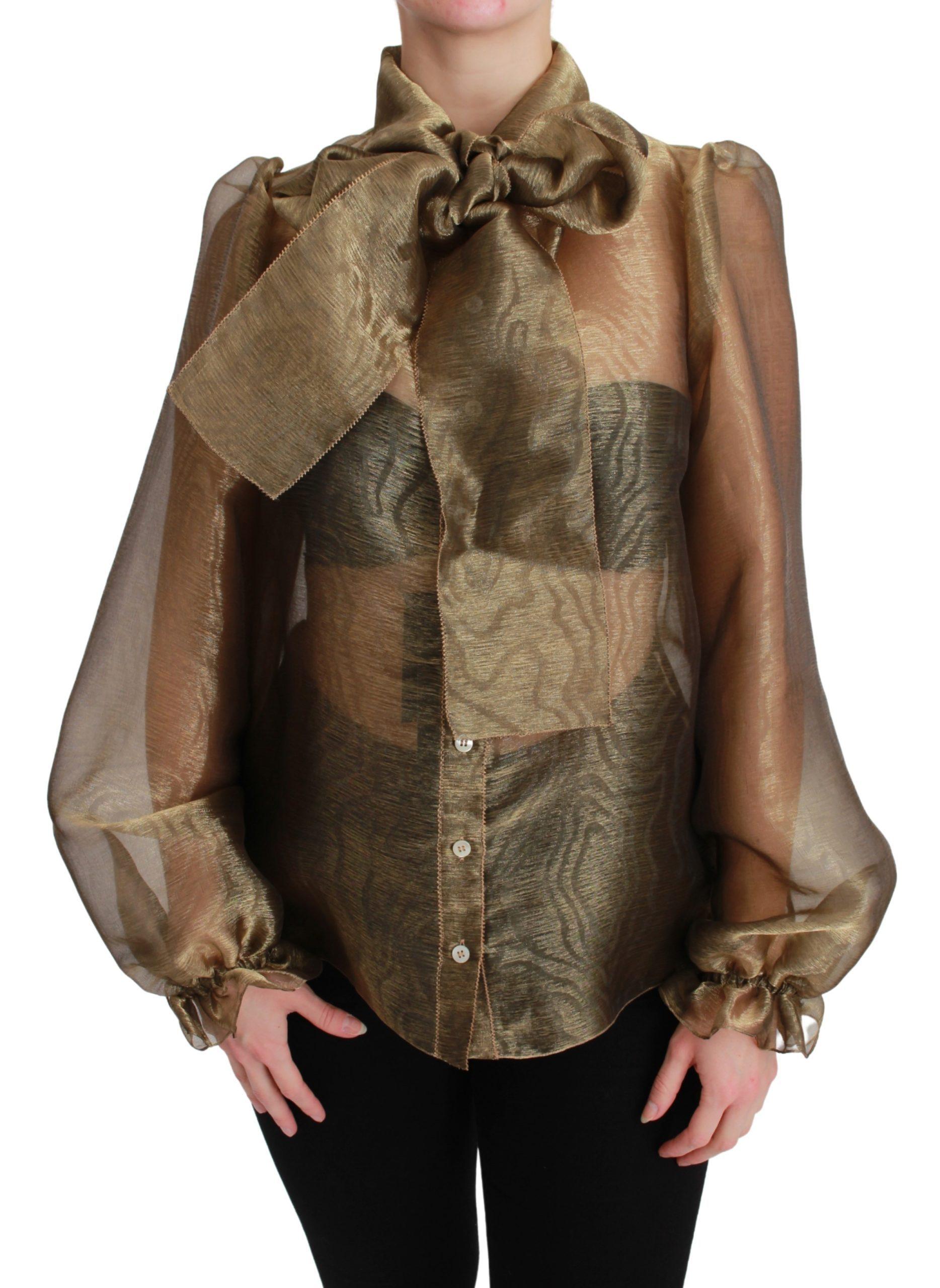 Dolce & Gabbana Women's Bow Collar Sheer Shirt TSH2676 - IT40|S