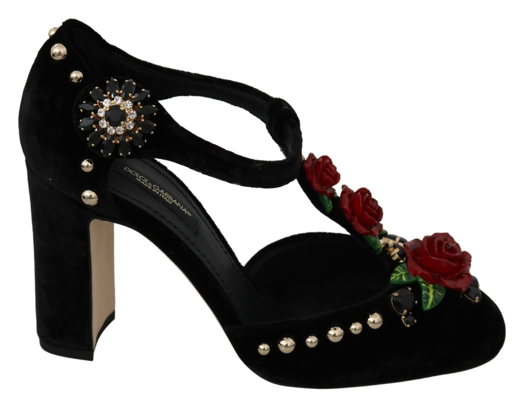 Dolce & Gabbana Women's Crystals Velvet Pumps Black LA7128 - EU35.5/US5