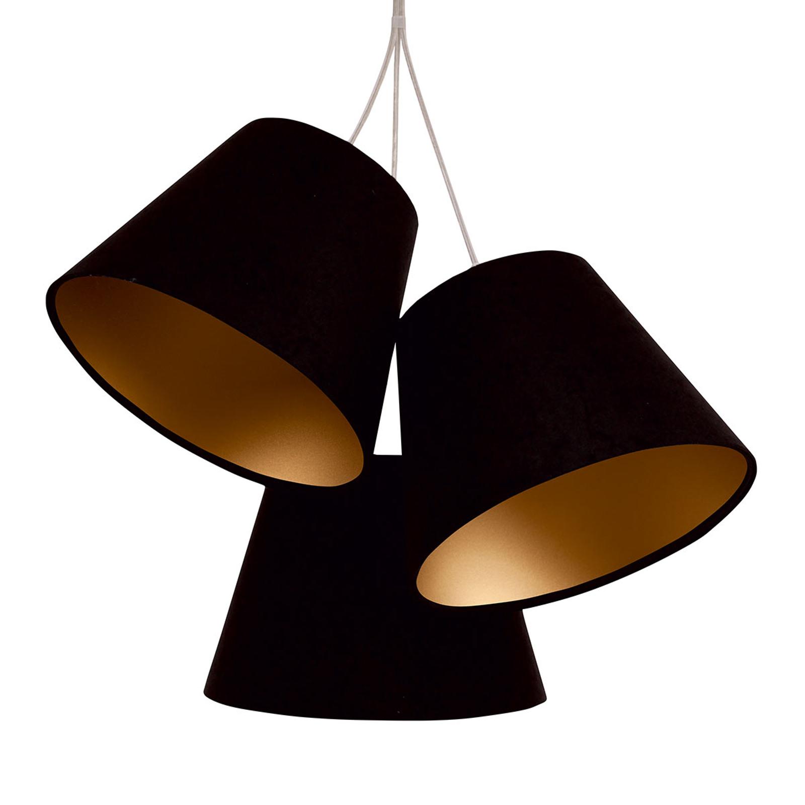 3-lamp. riippuvalaisin Sonia kangasvarjostimilla