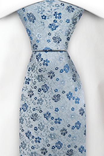 Silke Slips, Blomster i 3 nyanser av blått på gråblå base, Notch HYLLNING BLUE