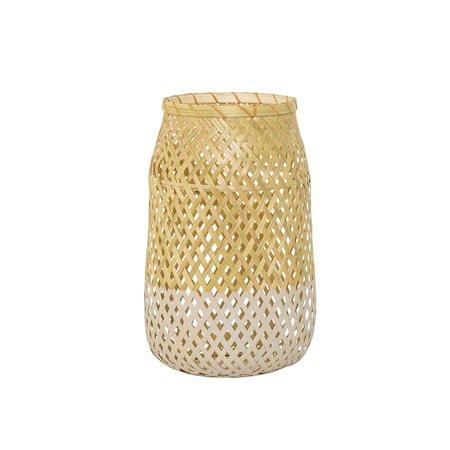 Lanterne m/Glass Natur Bambus 18x30cm