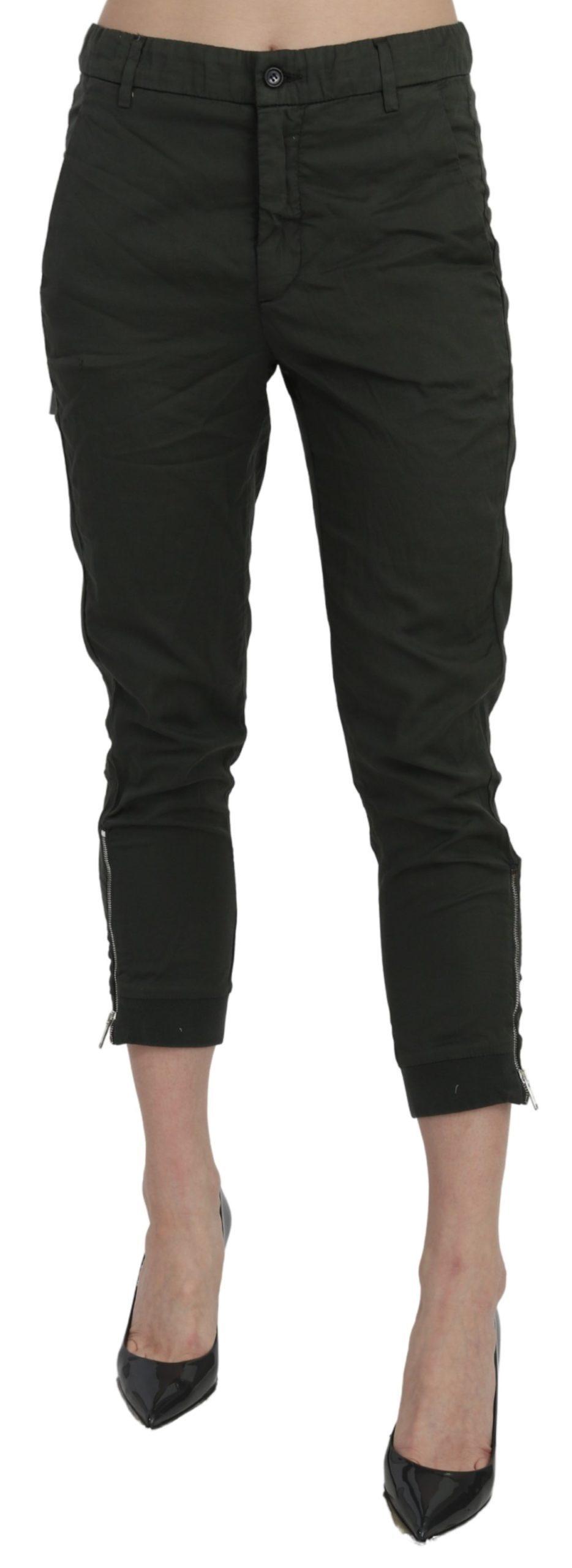 Dondup Women's Mid Waist Skinny Cropped Cotton Trouser Gray PAN70885 - IT40|S