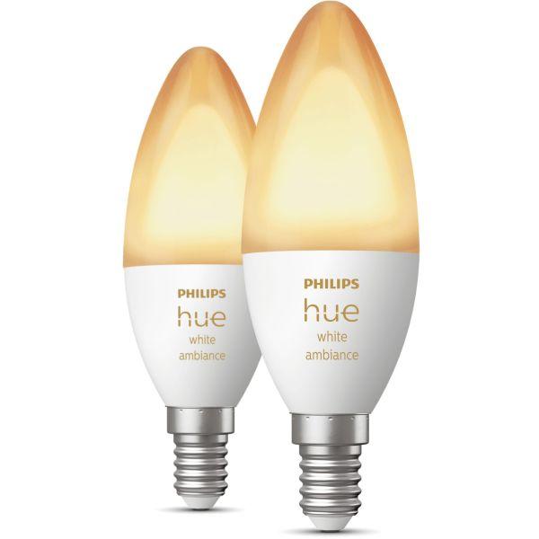 Philips Hue White Ambiance LED-valo 5,2 W, E14, 2 kpl/pakkaus