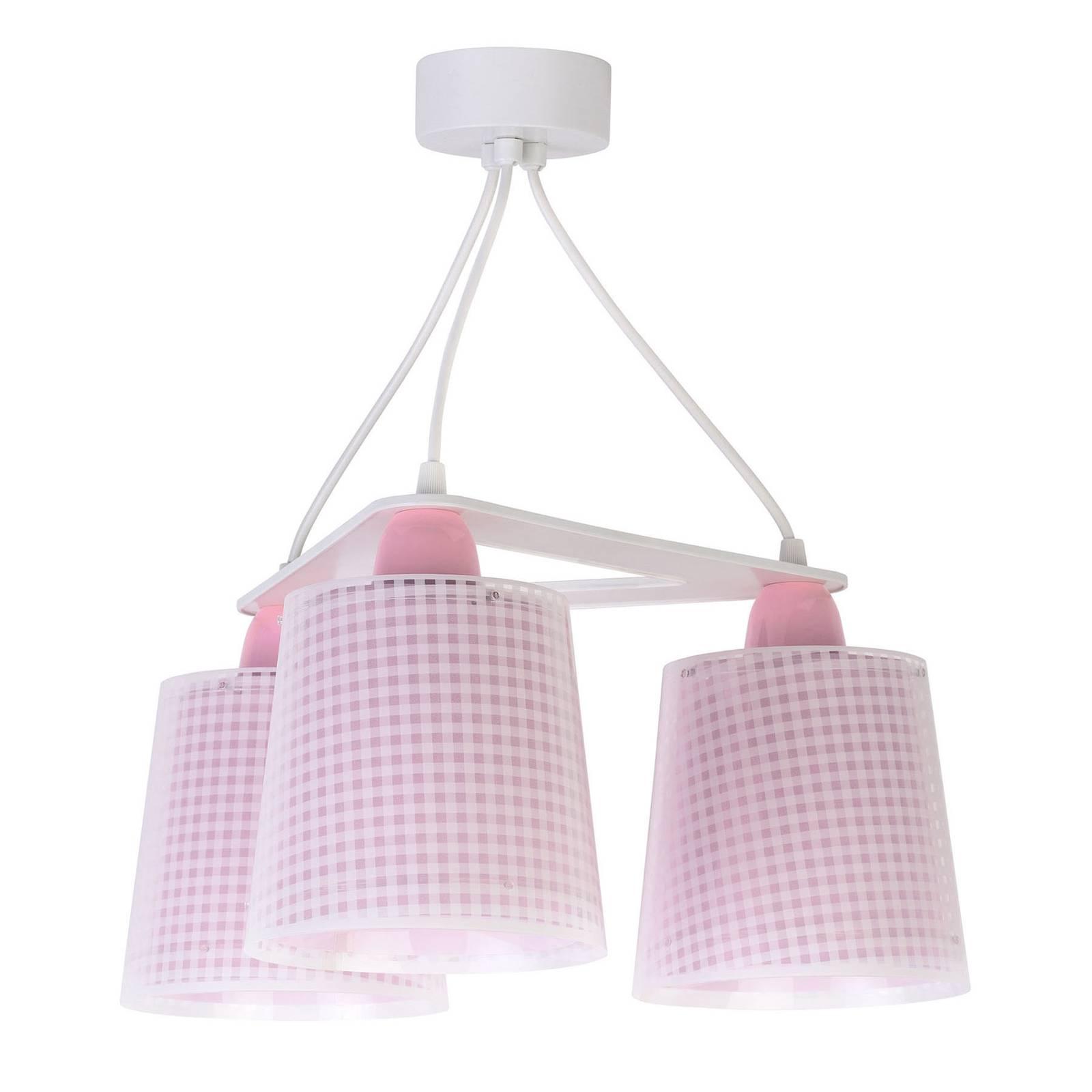 Lastenhuoneen riippuvalaisin Vichy, 3-lamp., roosa