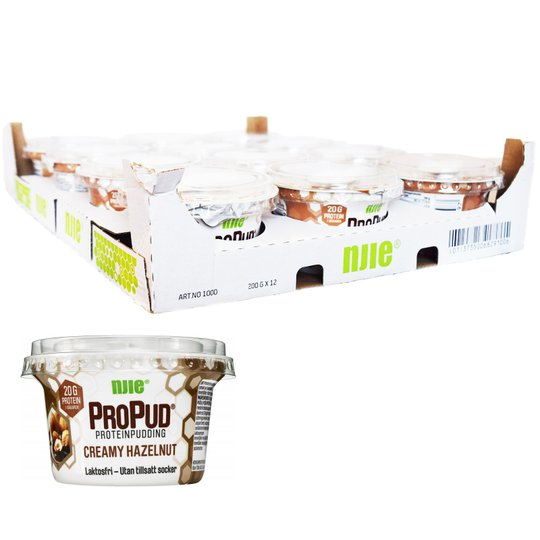 Hel Låda Proteinpudding Hasselnöt 12 x 200g - 45% rabatt