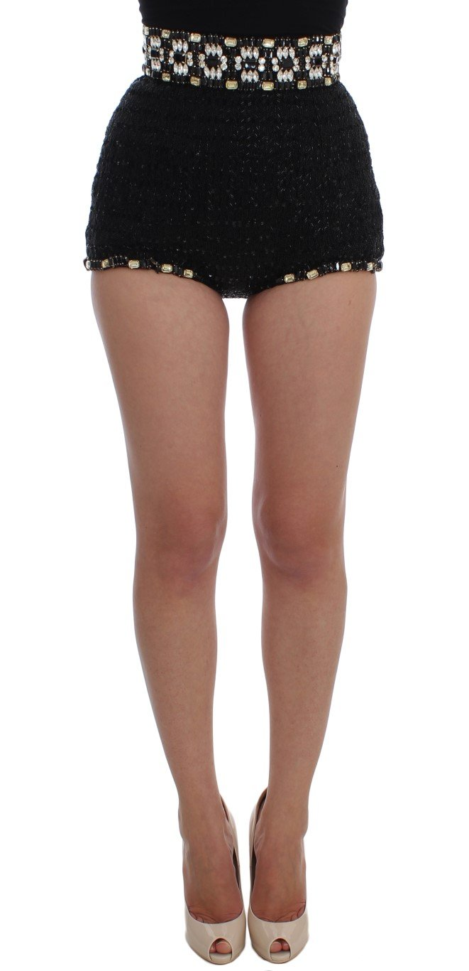 Dolce & Gabbana Women's Crystal Sequined Shorts Black SIG20112-1 - IT40|S
