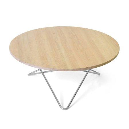 O Table Eik med Rustfri Stålramme Ø80