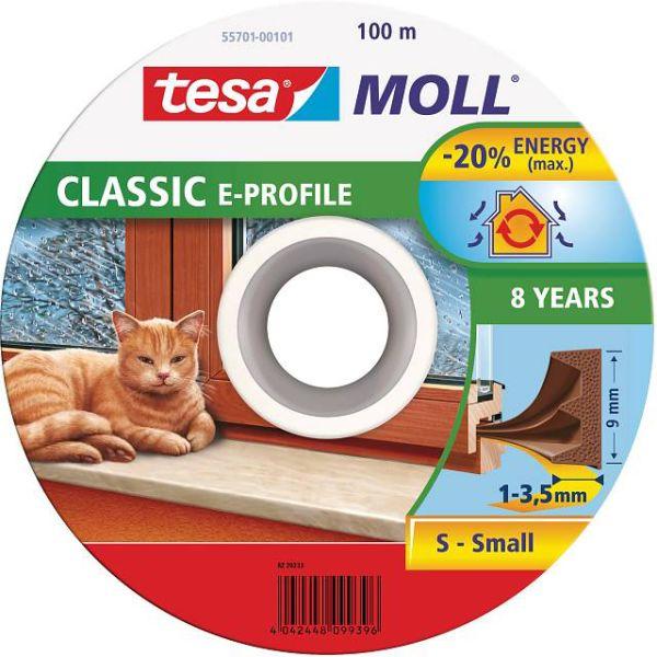 Tesa E-list 55701-00101-00 Tetningstape EPDM, 100 m, 9 mm x 4 mm Brun