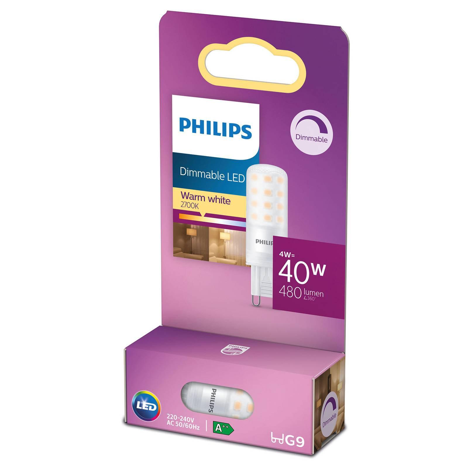 Philips LED-stiftpære G9 4W 2 700 K matt dimbar