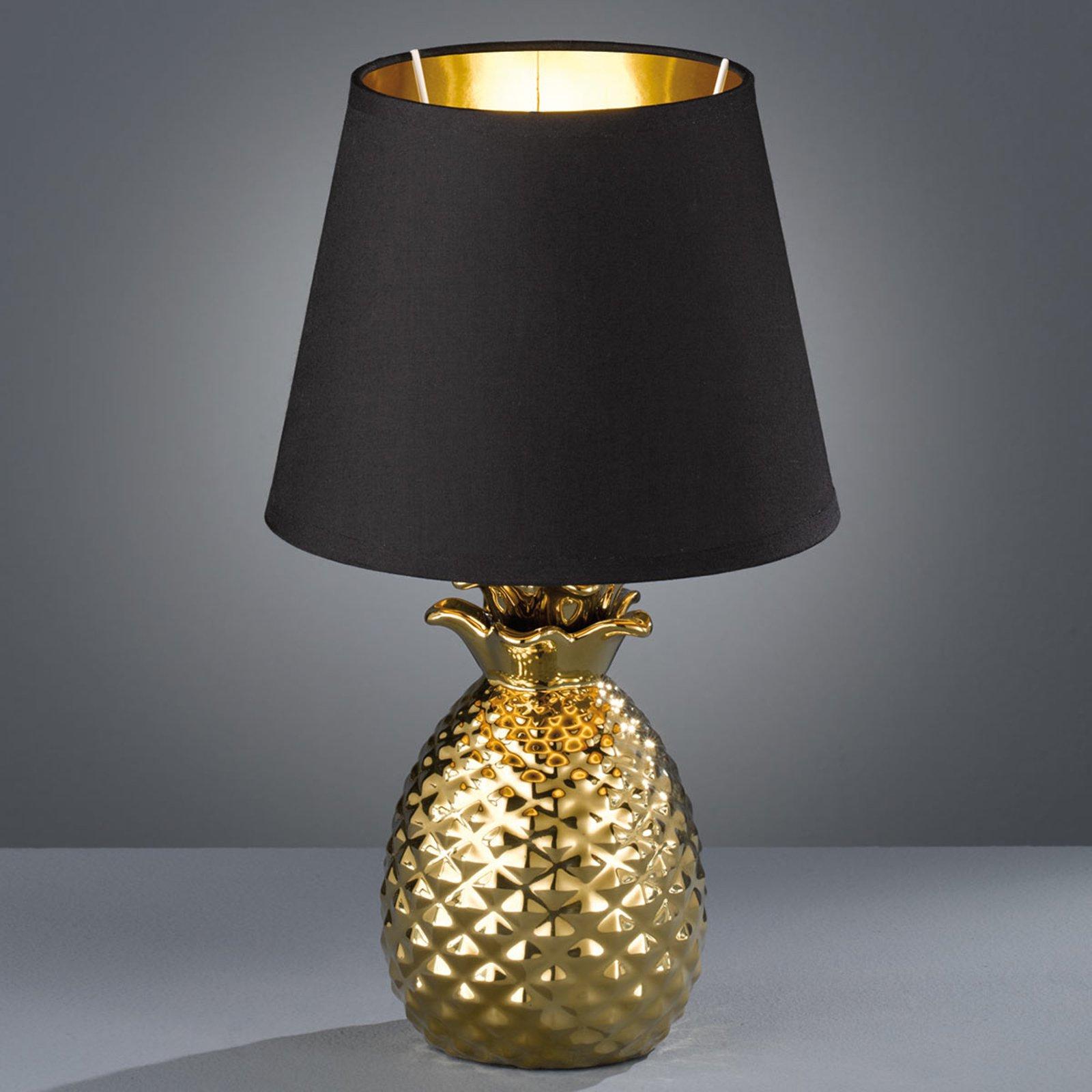 Bordlampe Pineapple i keramikk i gull og svart