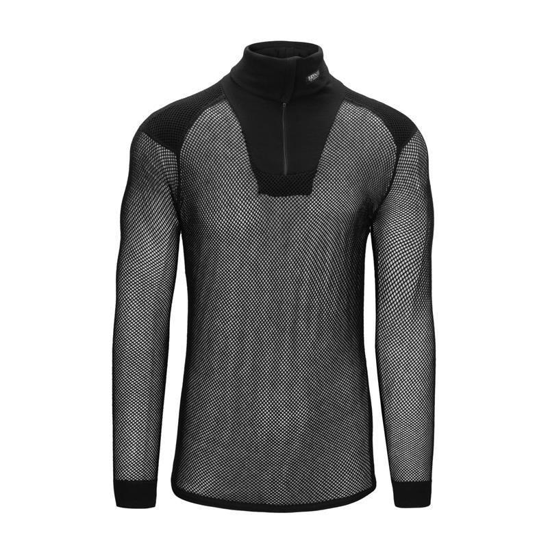 Brynje Wool Thermo Zip polo w/inlay S Black