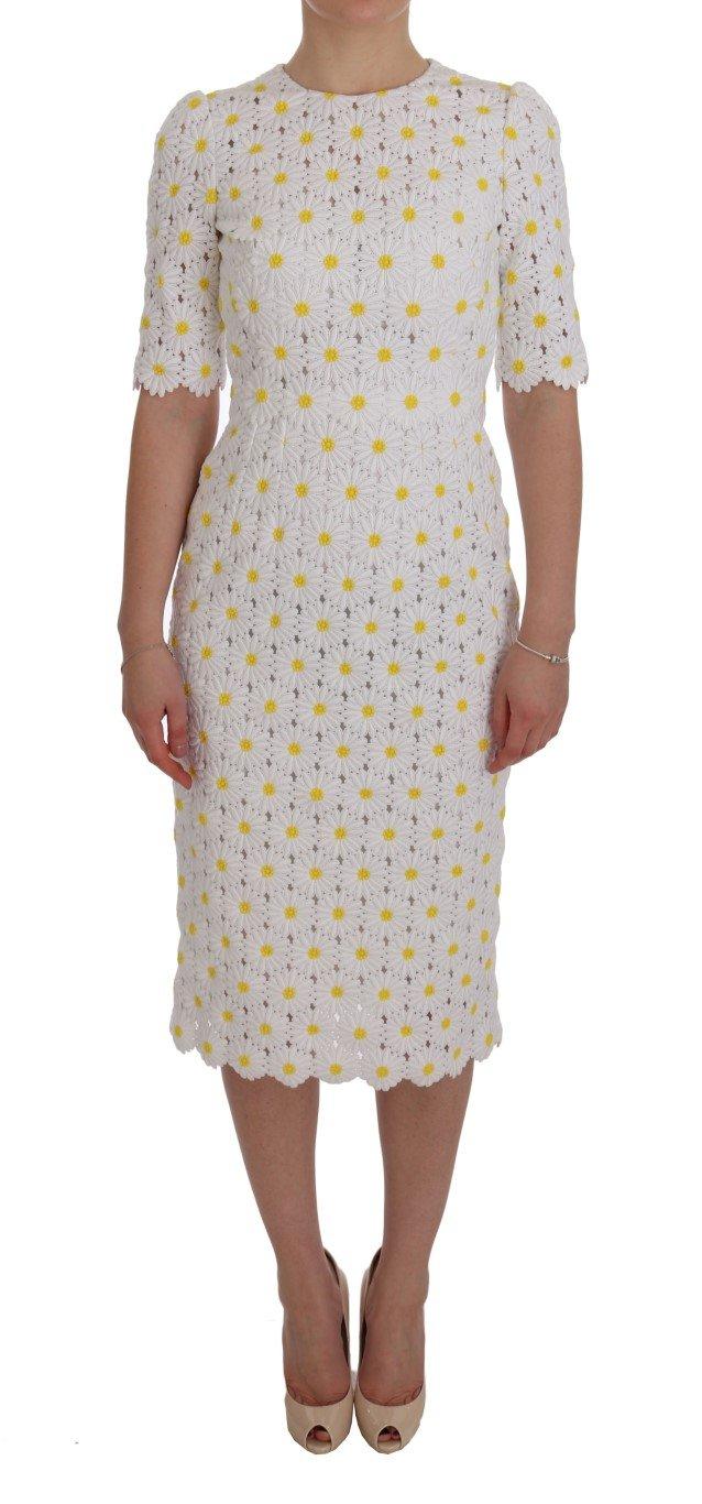 Dolce & Gabbana Women's Sunflower Ricamo Sheath Dress White SIG50855 - IT38|XS