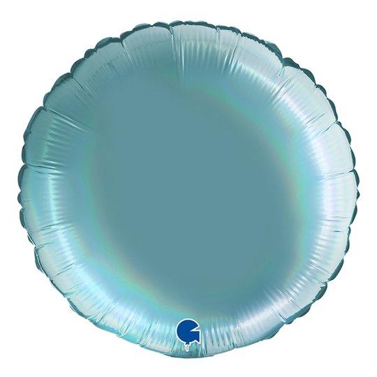 Folieballong Rund Holografisk Ljusblå - 45 cm