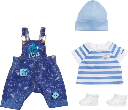 Baby Born Deluxe Jeans Dungaree Sett, 43 cm