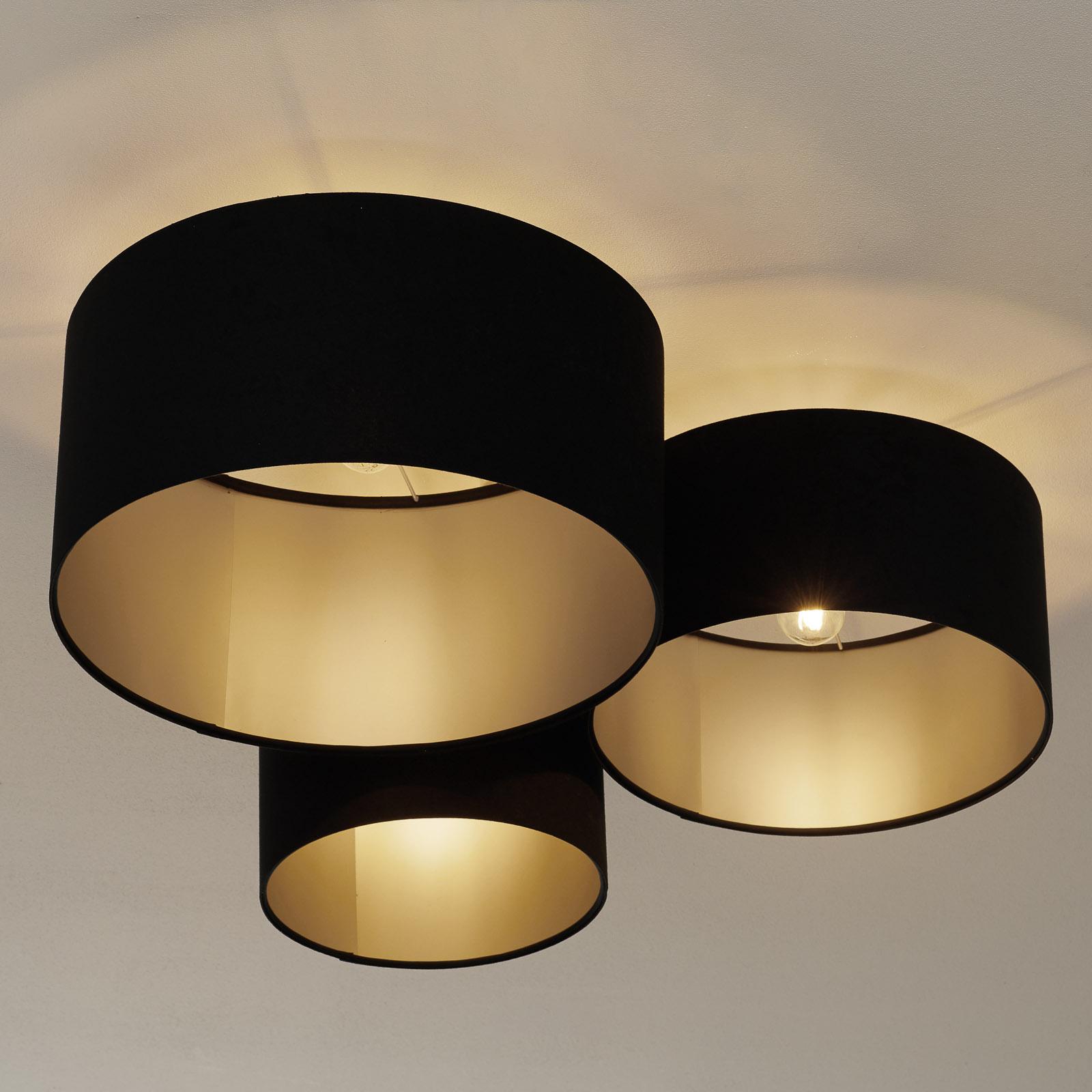 080-kattovalaisin, 3-lamppuinen, musta-hopea