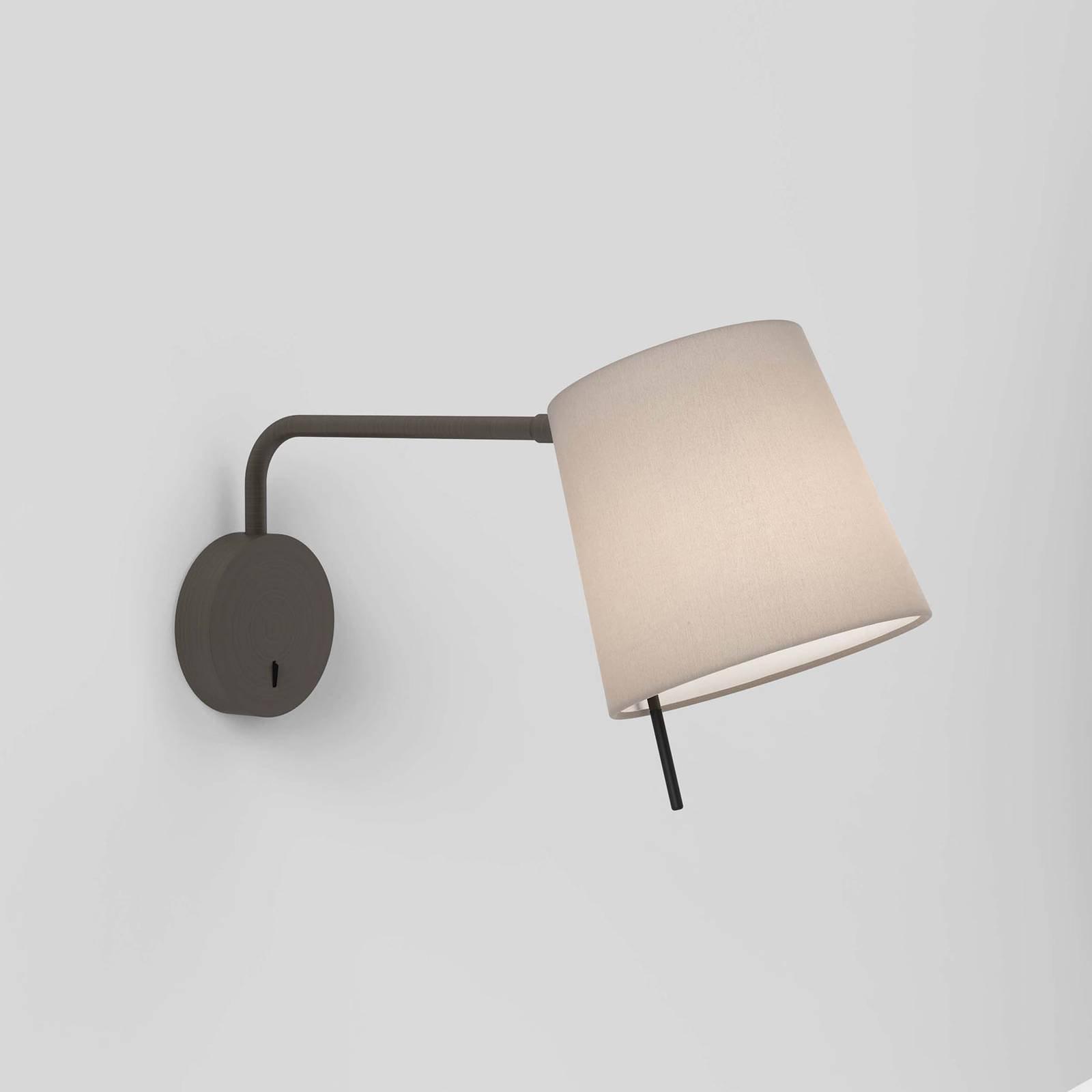 Vegglampe Mitsu Swing, bronse, østersfarget skjerm
