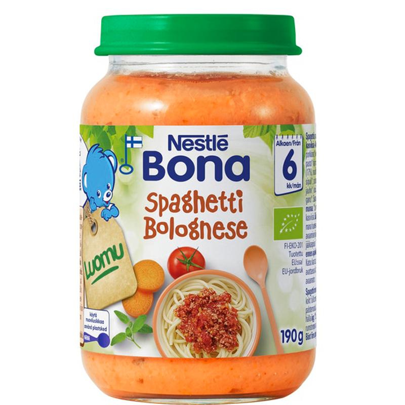 "Luomu lastenruokaa ""Spaghetti Bolognese"" 190g - 22% alennus"