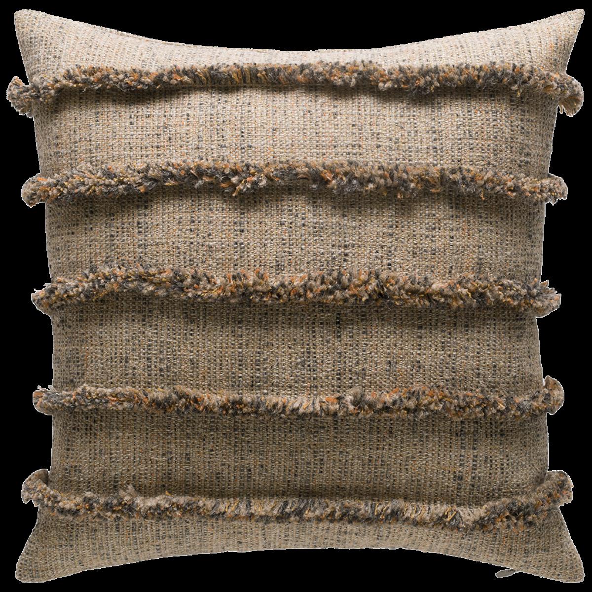 de Le Cuona | Rogue Cushion With Fringe Detail Burnt Rock