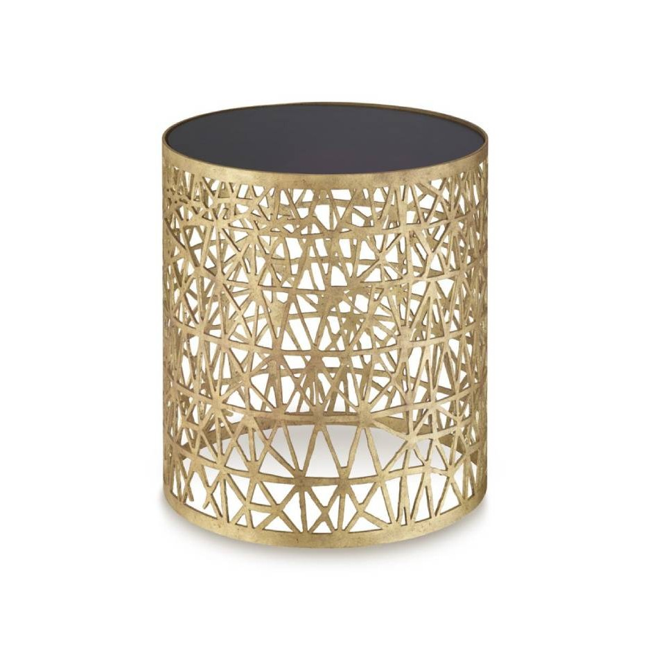 Porta Romana I Cocoon side table DECAYED GOLD WITH BLACK GLASS