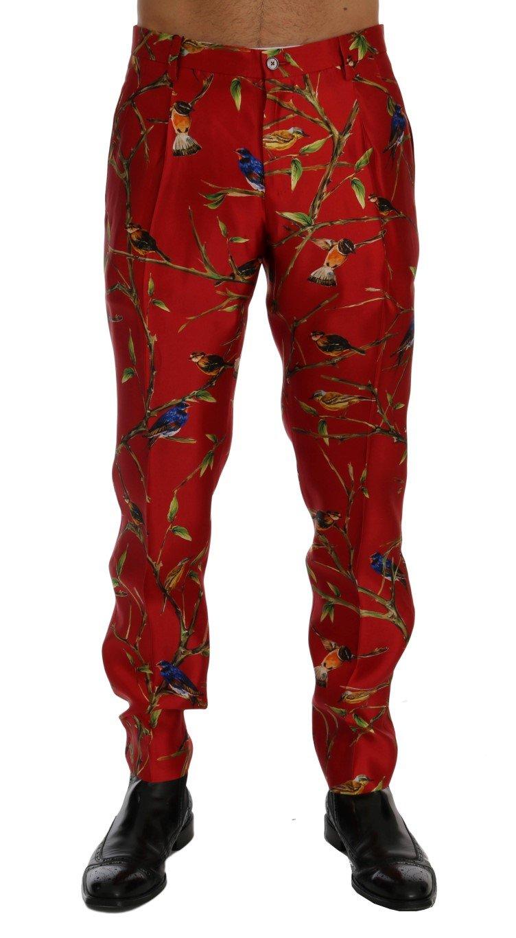 Dolce & Gabbana Men's Silk Bird Print Dress Trouser Red SIG60444 - IT44 | XS