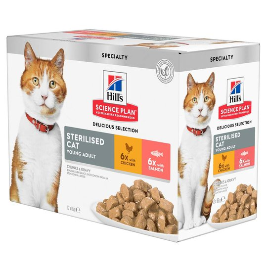 Hill's Science Plan Cat Young Adult Sterilised Chicken & Salmon 12x85 g
