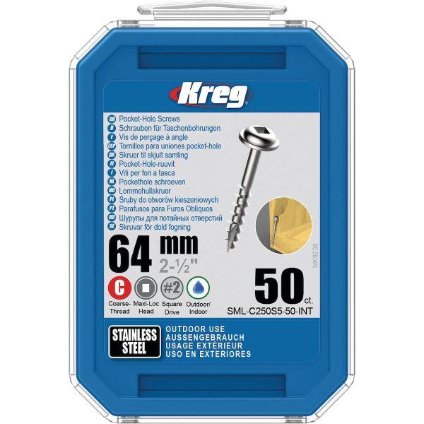 Kreg SML-C250S5-50-INT Skrue 64 mm Ø, rustfri, Maxi-Loc 50-pakk